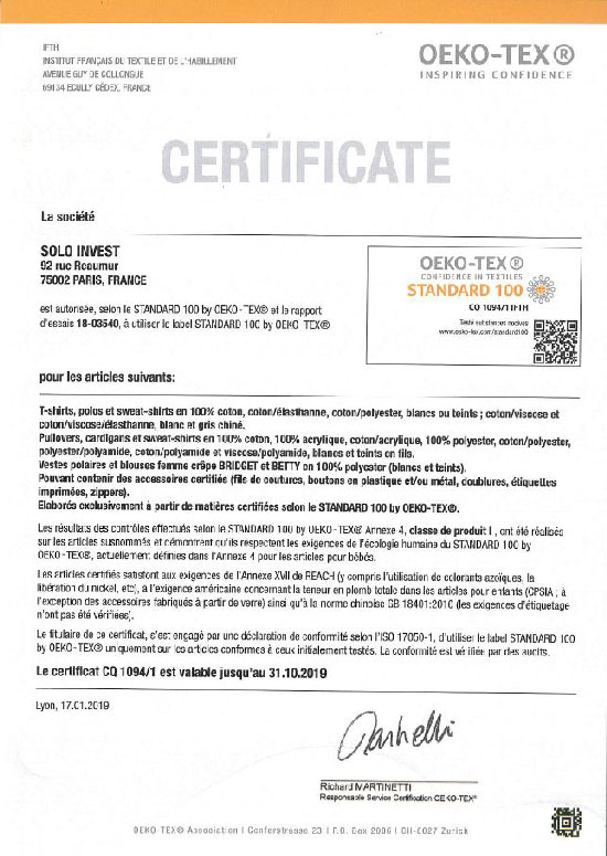 certification oeko-tex